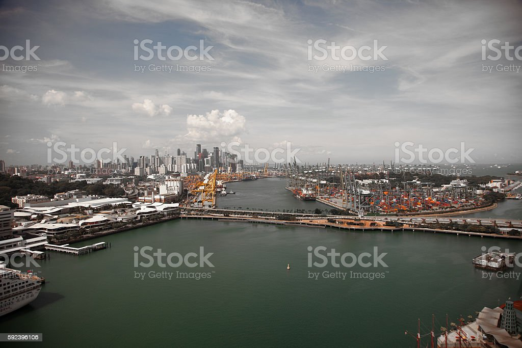 Aerial views from the cable car to Sentosa island, Singapore stock photo