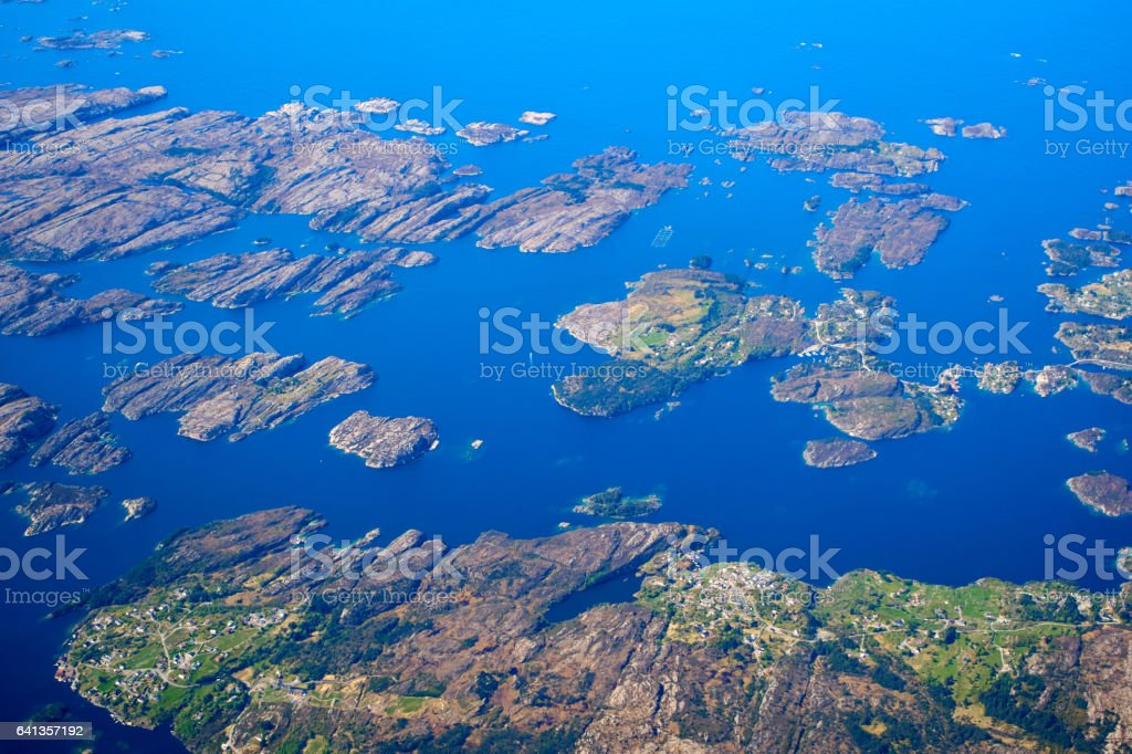 Aerial views Norway coastline stock photo