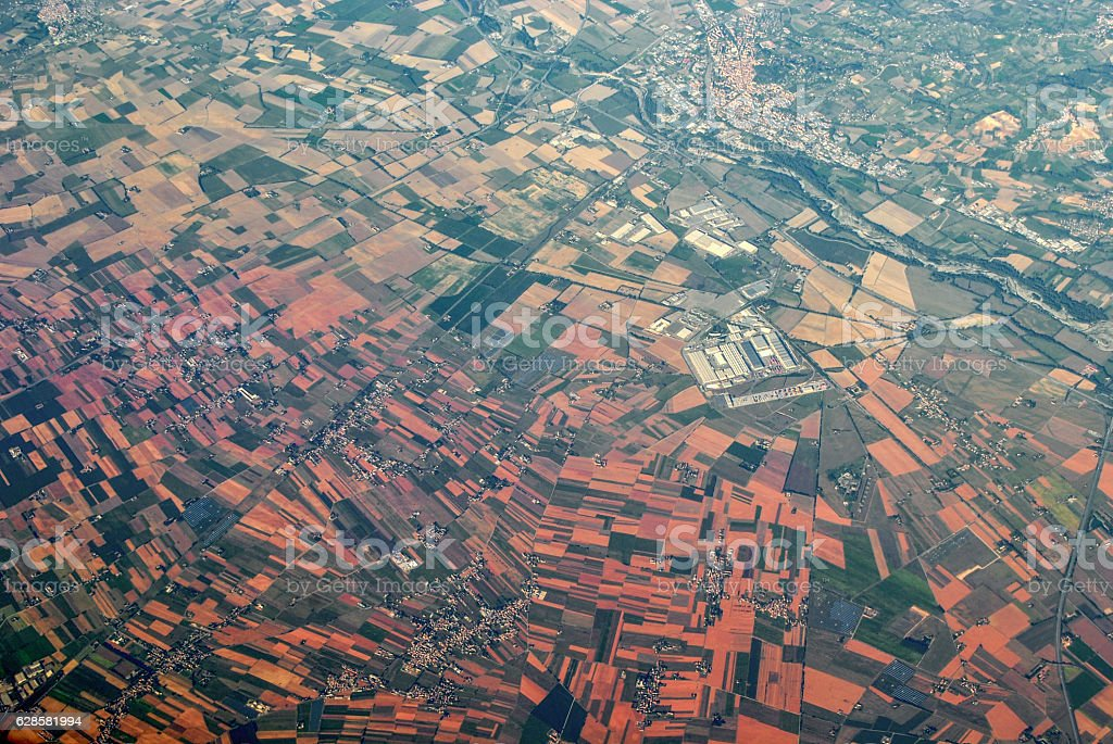Aerial views of a town and its surroundings stock photo