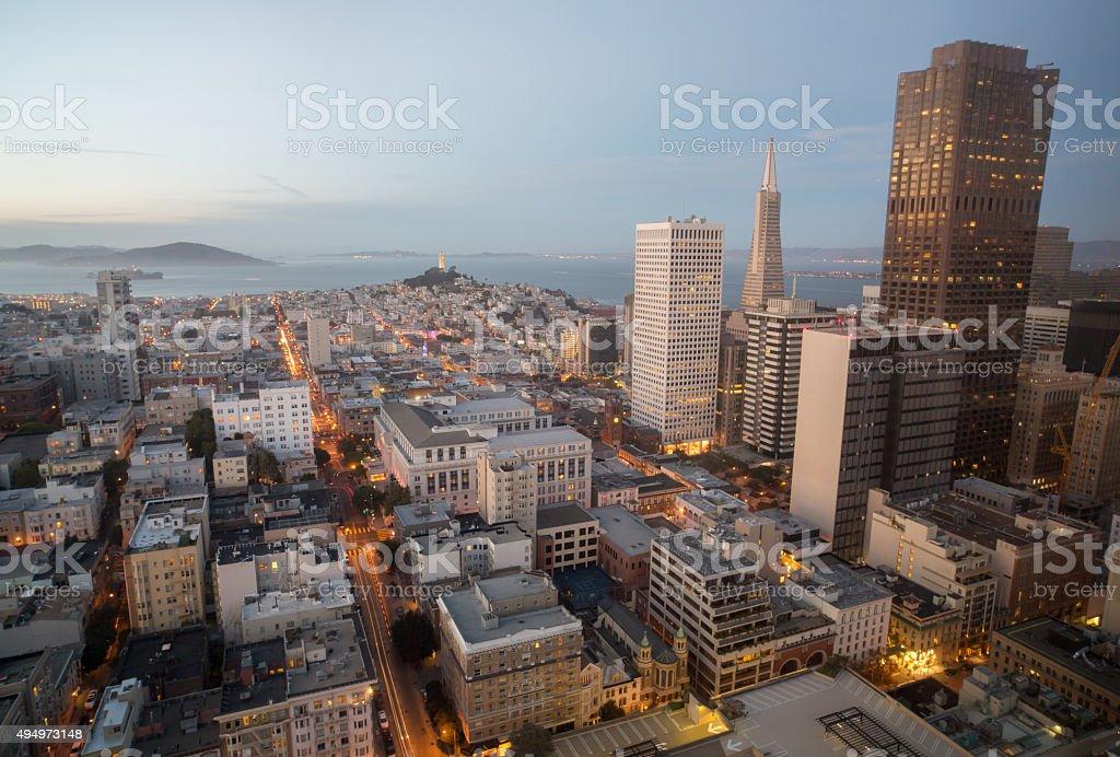 Aerial Views of City Skyline and San Francisco Bay stock photo