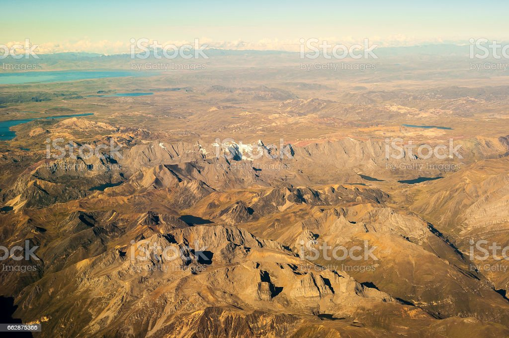 Aerial views of high plateaus of the junin Region Peru stock photo