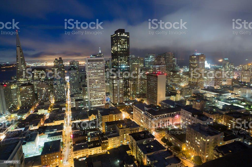 Aerial Views of San Francisco Financial District, Dusk stock photo