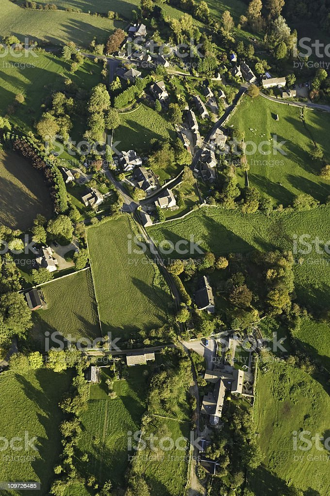 Aerial village green country life royalty-free stock photo
