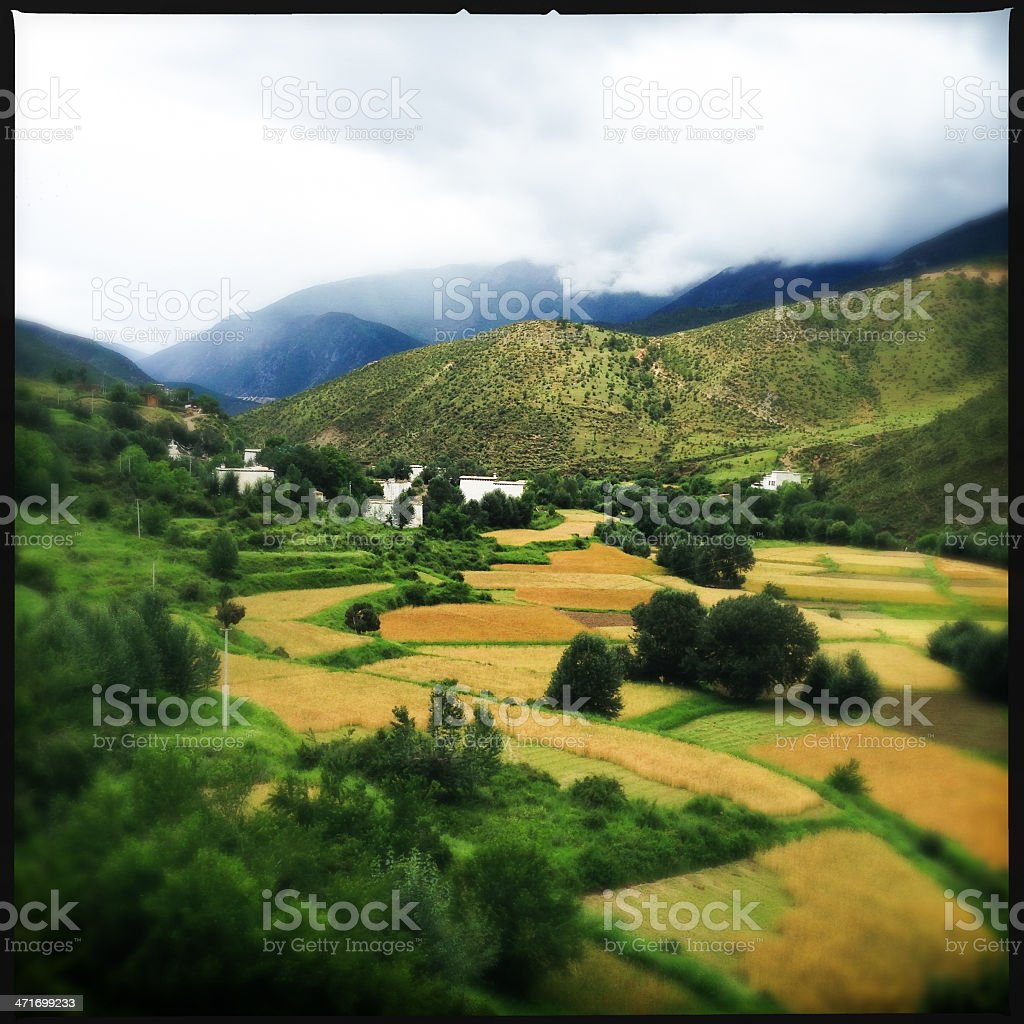 Aerial vista over farm and village royalty-free stock photo