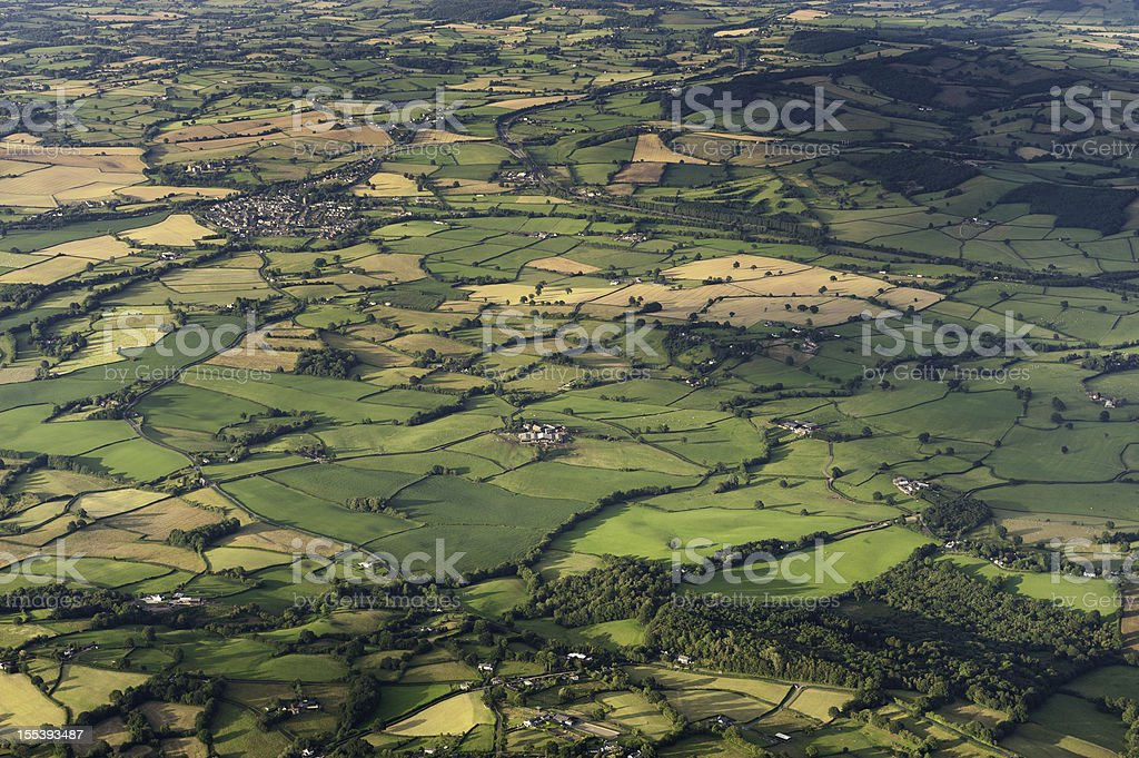 Aerial vista over patchwork summer landscape stock photo