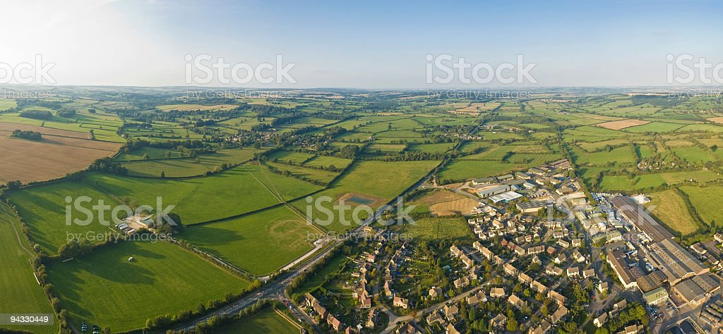 Aerial vista, village and field royalty-free stock photo