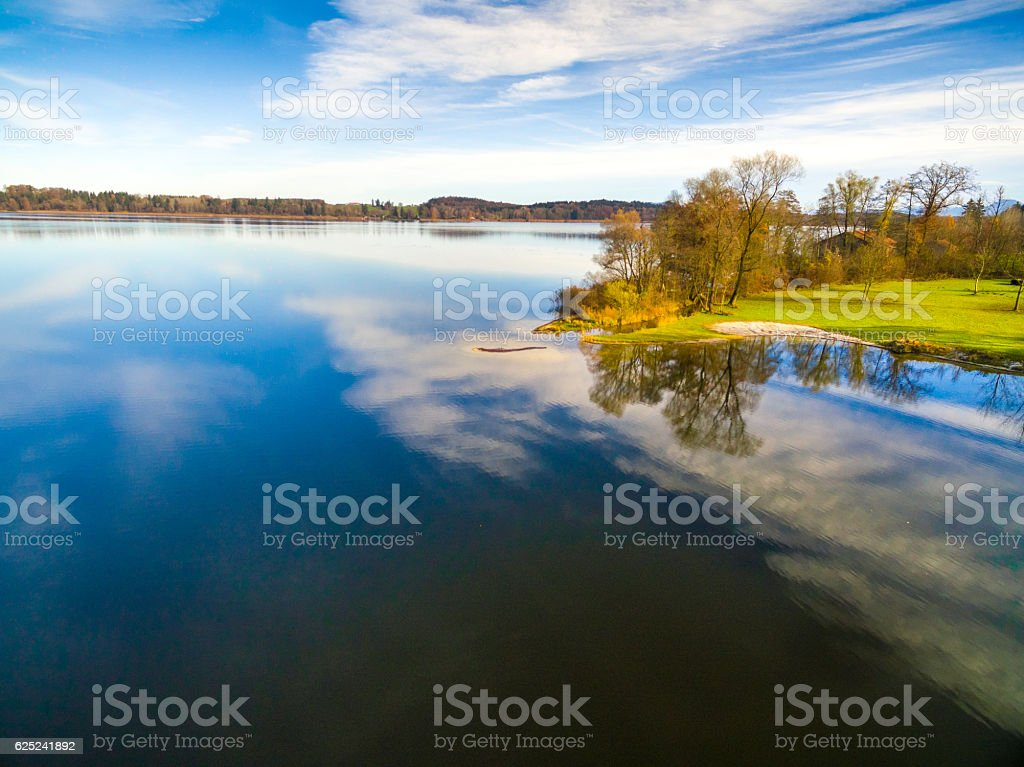 Aerial: Waginger See in Autumn stock photo