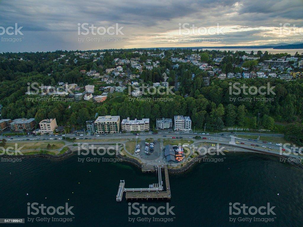 Aerial West Seattle Landscape View Sunset Golden Clouds, Pier Dock stock photo