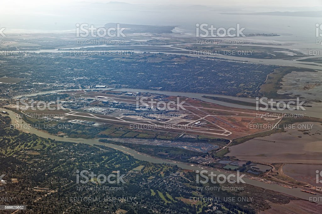 Aerial Wide Angle View of Vancouver International Airport - CYVR stock photo