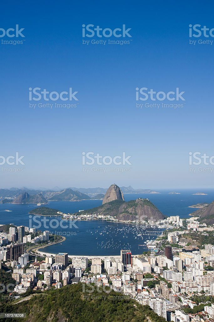 Aerial wide shot of the Sugarloaf Mount in Rio de Janeiro royalty-free stock photo
