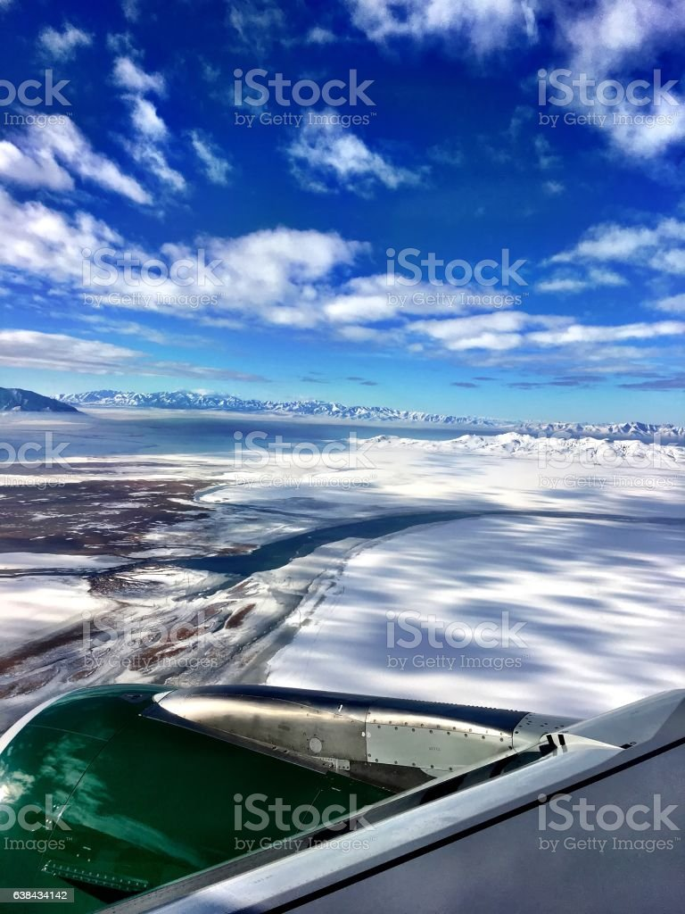 aerial winter desert stock photo