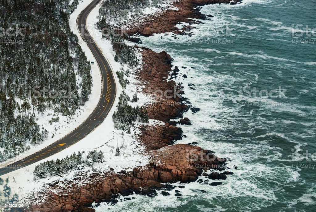 Aerial Winterscape stock photo