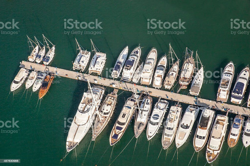 Aerial Yacht Marina stock photo