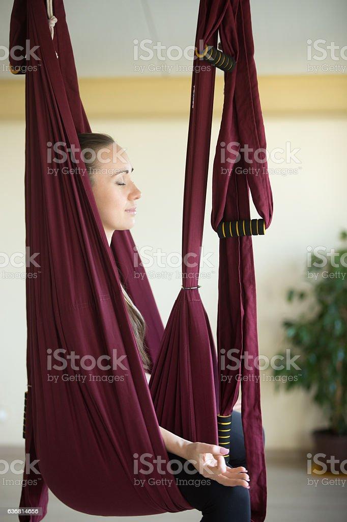 Aerial yoga practice stock photo