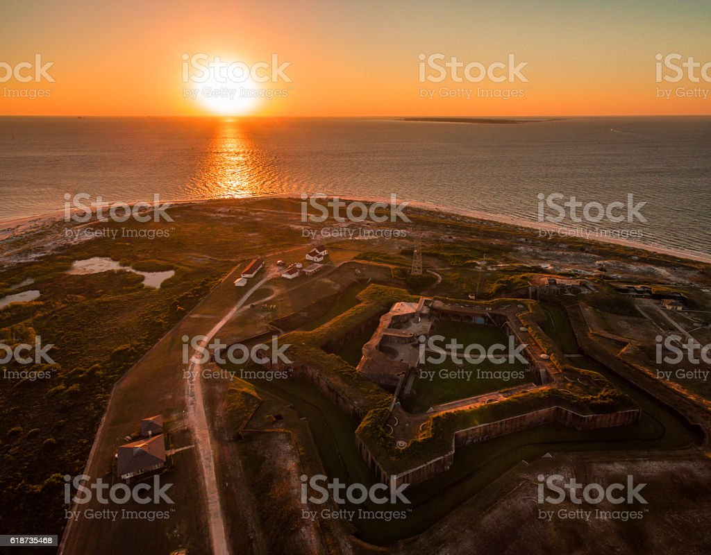 Aerial/Drone.  Historic Fort Morgan sunset.  Civil War fort in Alabama stock photo