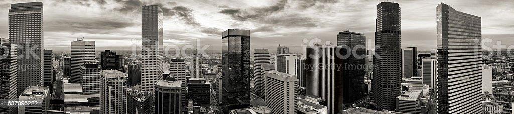 Aerial/drone panorama of the city of Denver Colorado stock photo