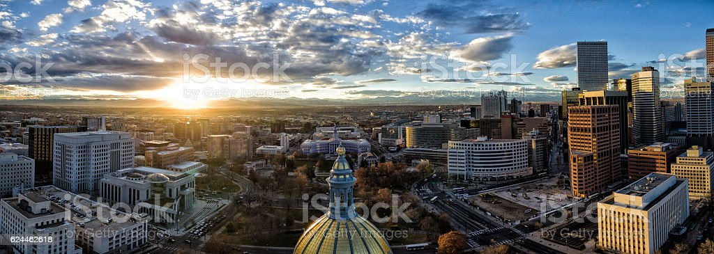 Aerial/Drone Panorama.  Sunset over the Capital building of Denver, Colorado stock photo