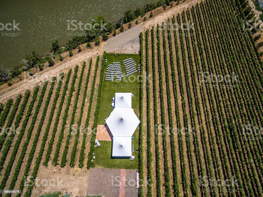 Aerial/Drone Wedding Venue Photo.  Vineyard in Palisade Colorado stock photo
