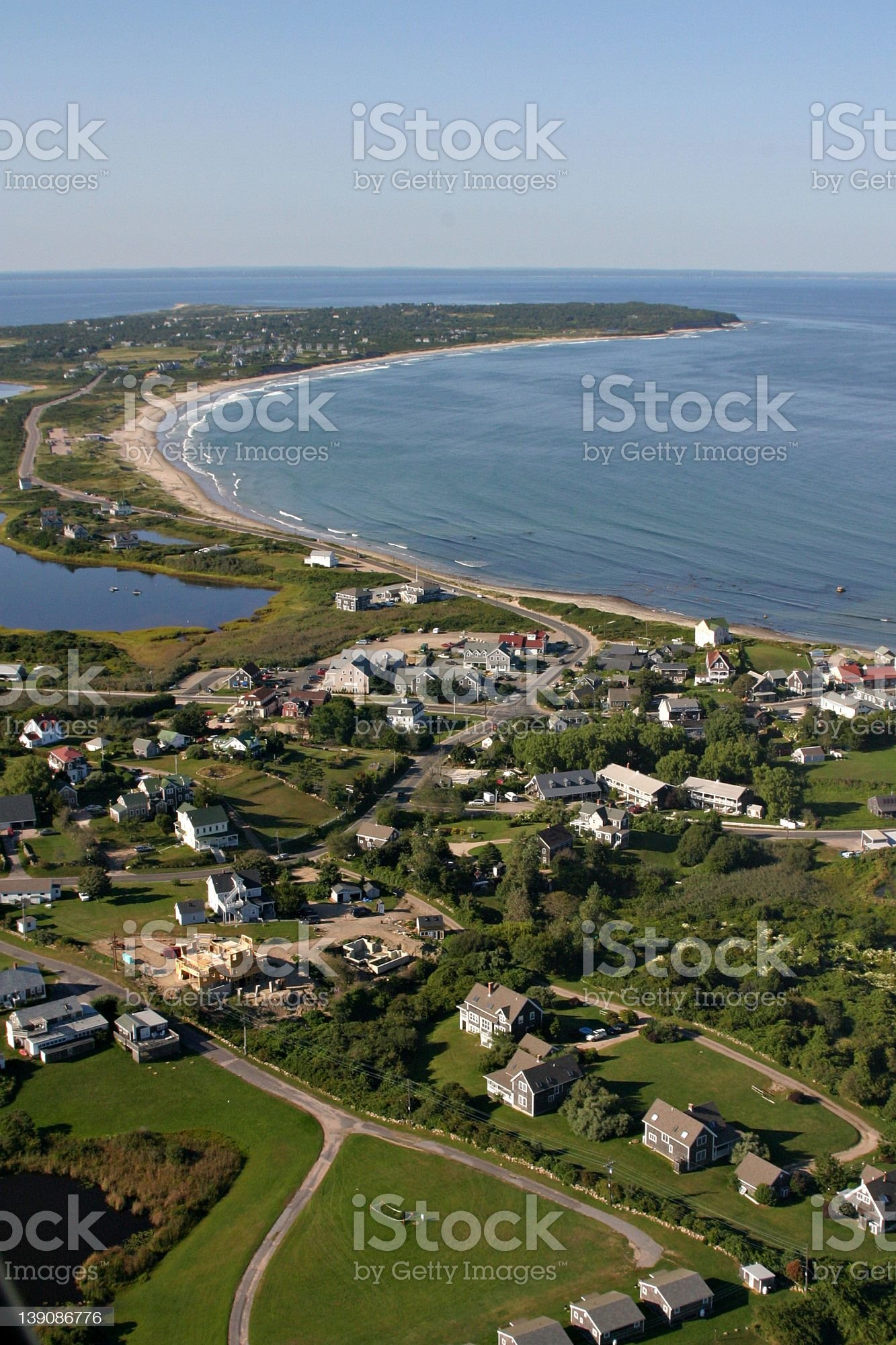 aerial.over.block.island.shoreline royalty-free stock photo