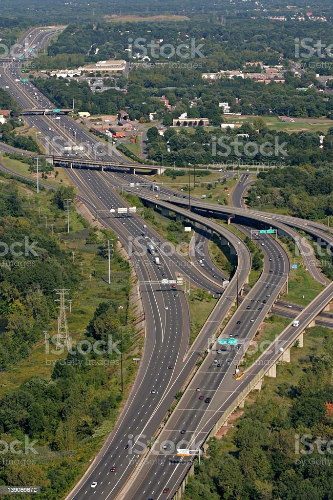 aerial.over.complex.highway.curves stock photo