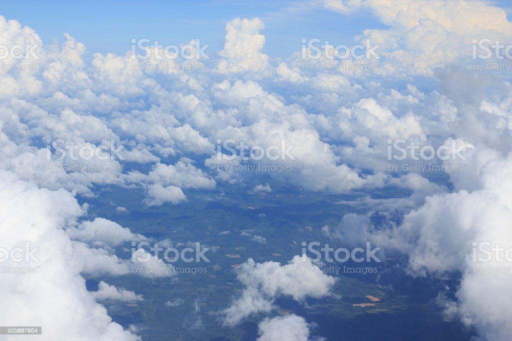 aerialwhite Кучевое облако и Облачный пейзаж с голубое небо Стоковые фото Стоковая фотография