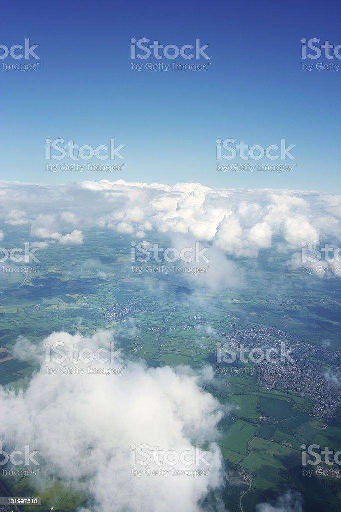 Aeriel view - green fields stock photo