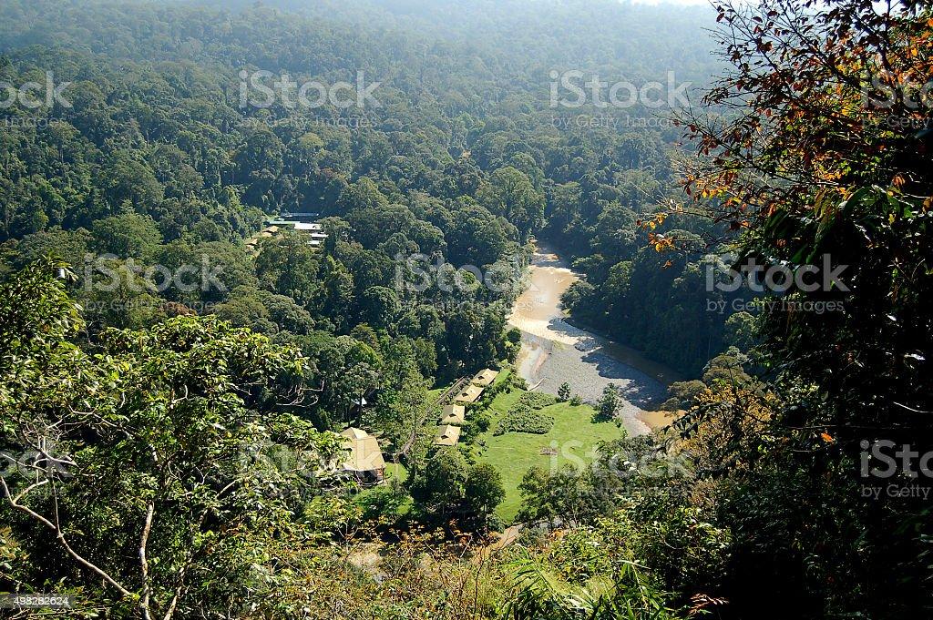 Aeriel View of Danum Valley Sabah Borneo stock photo