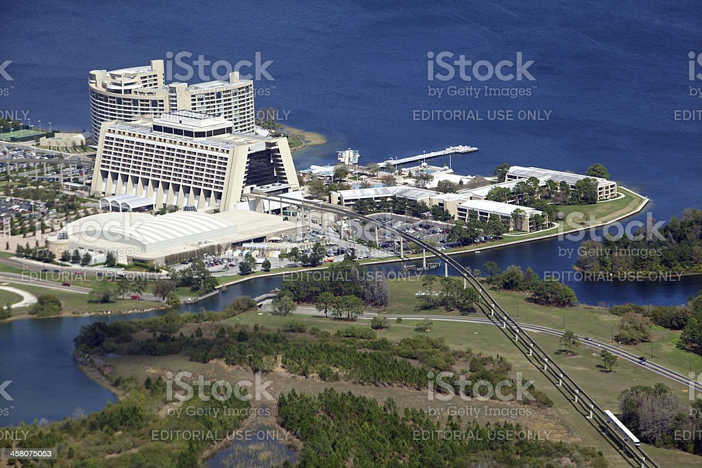 Aeriel view of Disney's Contemporary Resort, royalty-free stock photo