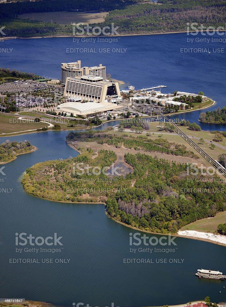 Aeriel view of Disney's Contemporary Resort stock photo