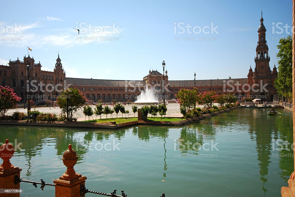 Aeriel view of Plaza de Espana stock photo