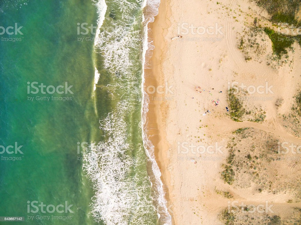 Aerila view of the coastline stock photo