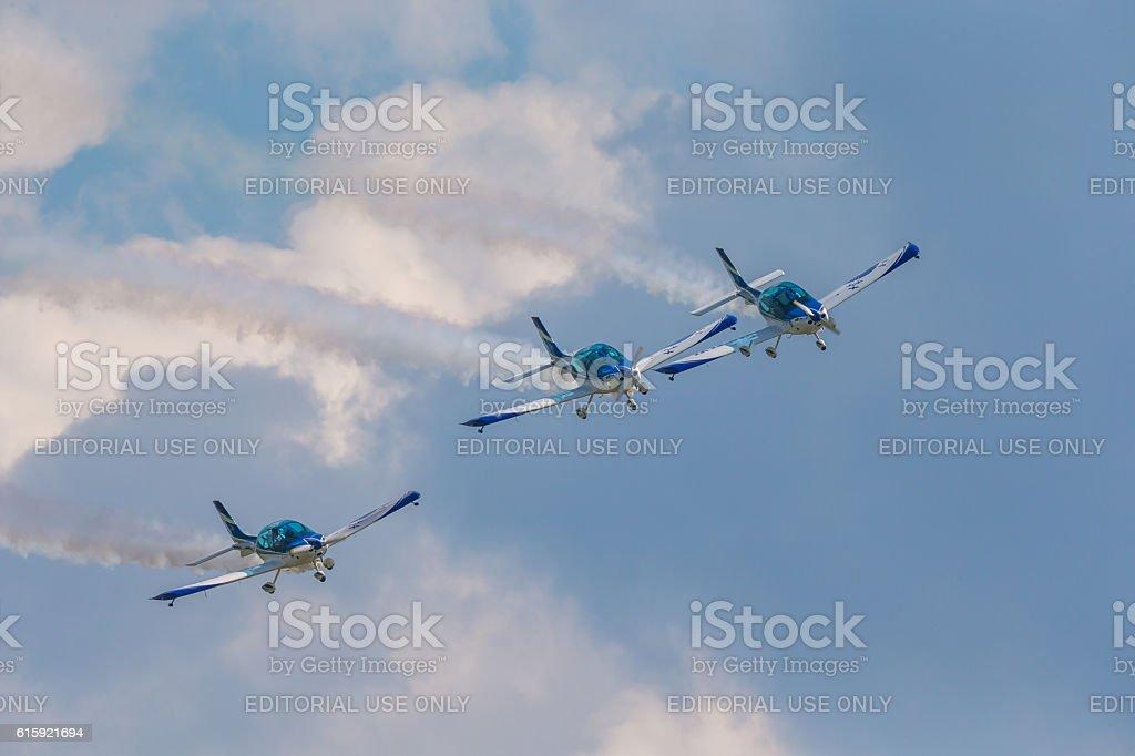 Aerobatic team 3x Fly Sinthesis Texan Top Class ILA  2014 stock photo