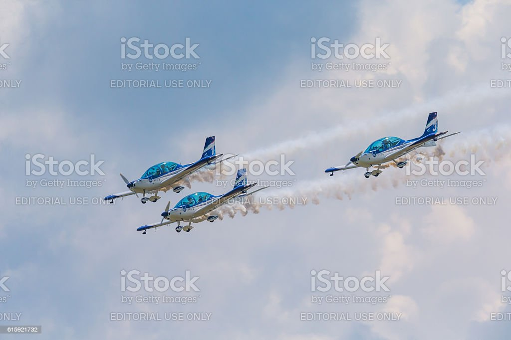 Aerobatic team 3x Fly Sinthesis Texan Top Class stock photo