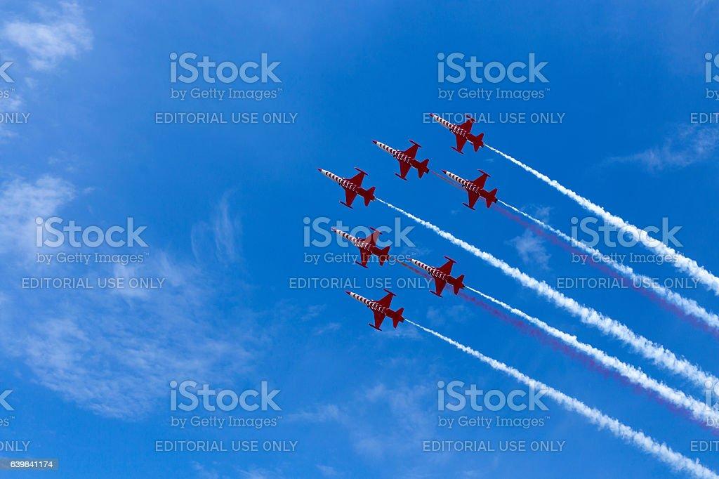 Aerobatic team at airshow stock photo