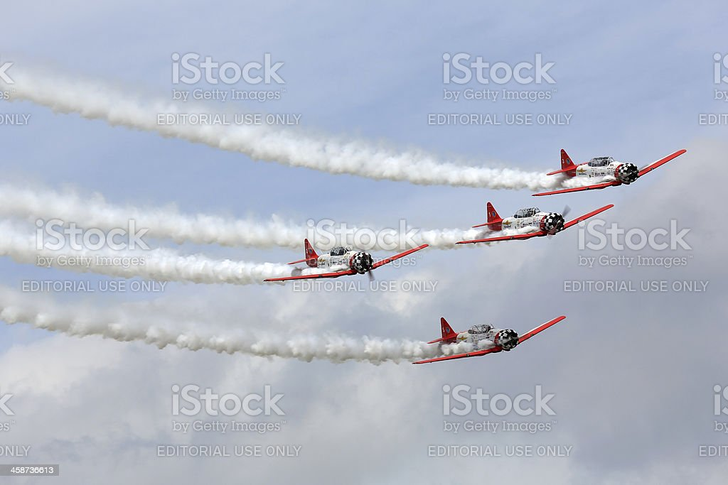 Aerobatic team performing during Oshkosh AirVenture 2013 stock photo