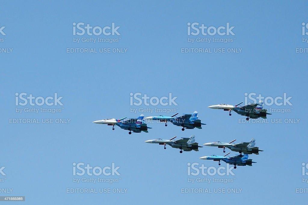 Aerobatics aircrafts Su-27 royalty-free stock photo