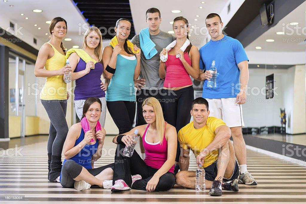 Aerobic class mates royalty-free stock photo