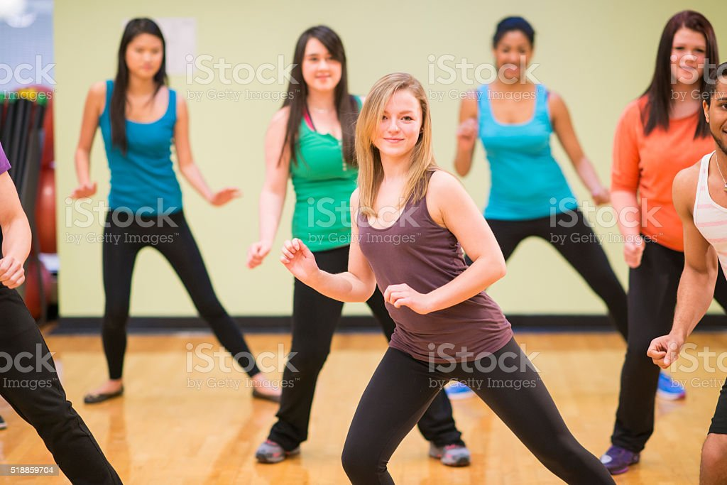 Aerobic Dance Fitness Class stock photo
