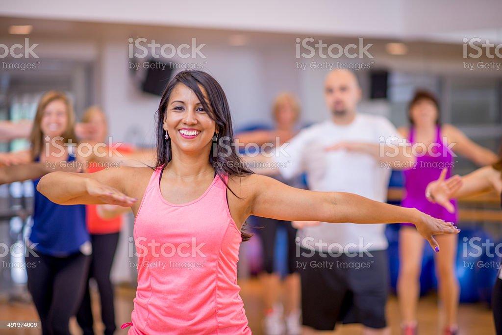 Aerobic Fitness Dance Class stock photo