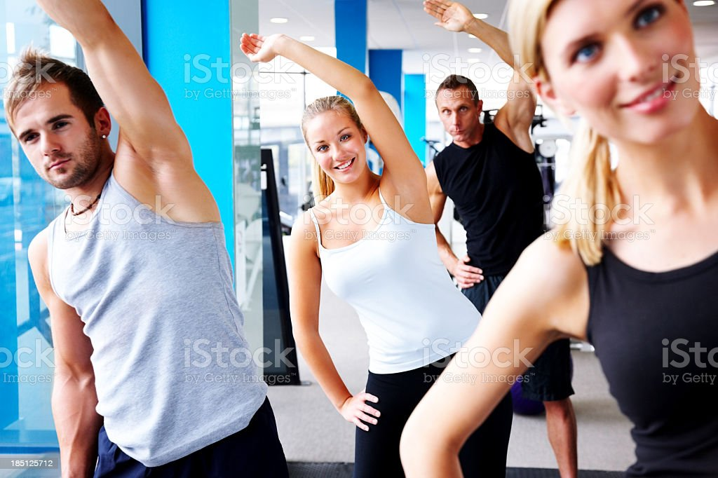 Aerobics class in a gym stock photo