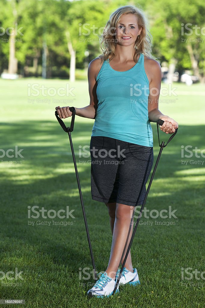 Aerobics Girl In The Park royalty-free stock photo