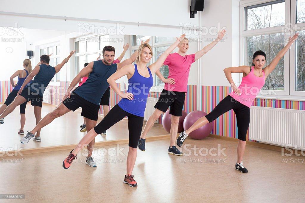 Aerobics on fitness classes stock photo