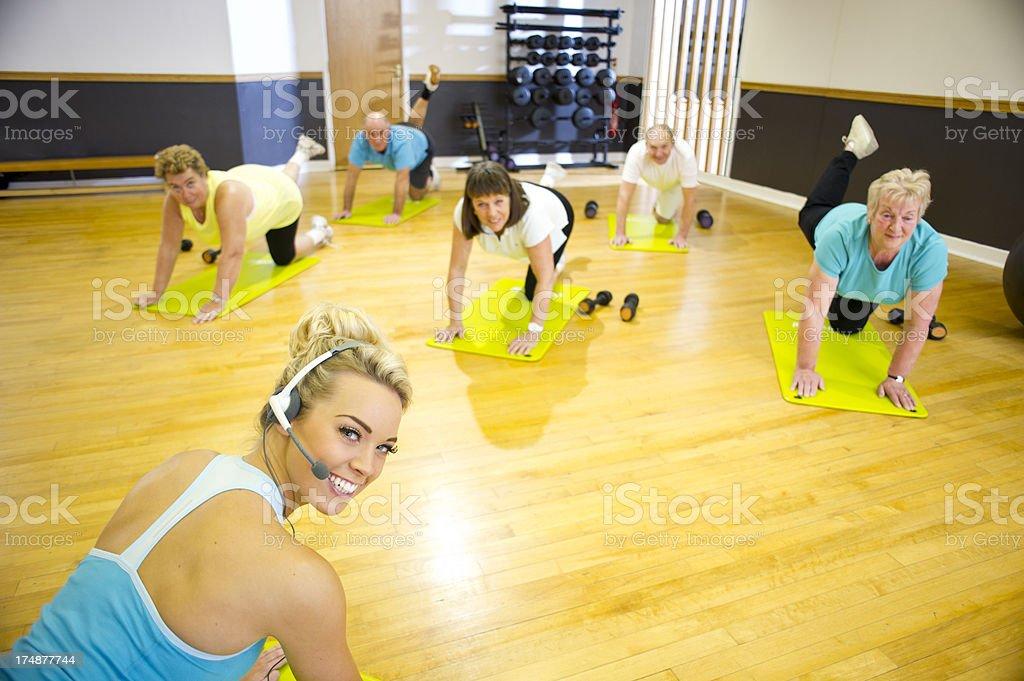 aerobics teacher with class royalty-free stock photo