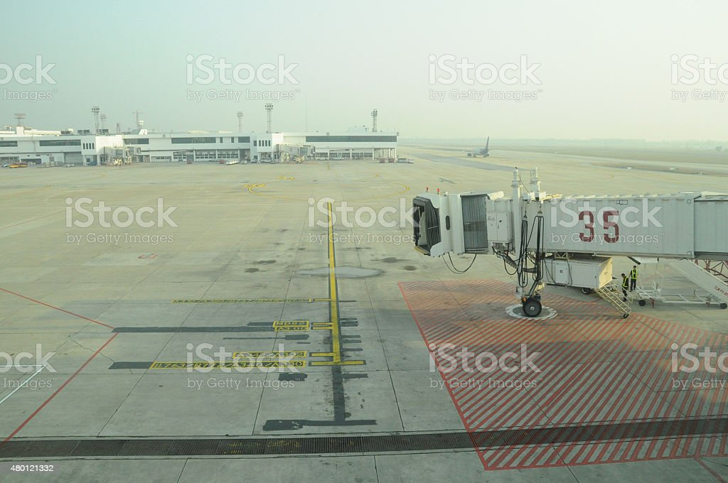 Aerobridge at Don Mueang International Airport (DMK),Thailand stock photo