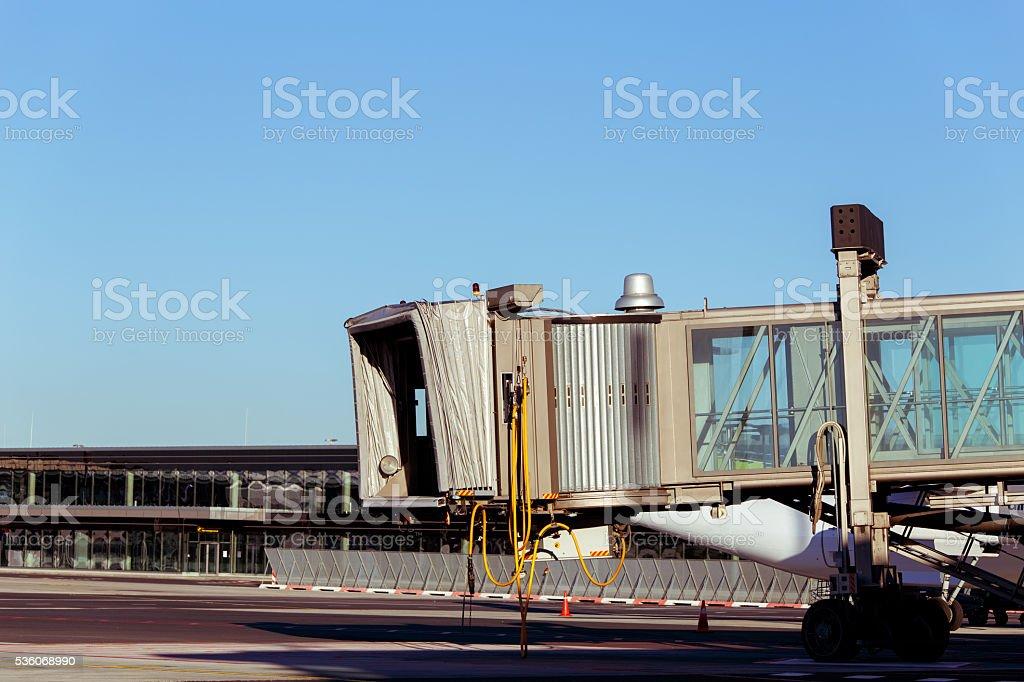 Aerobridge waiting for a plane to arrive on airpor stock photo