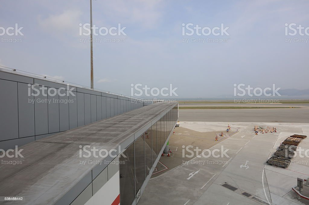 Aerobridge waiting for a plane to arrive on airport stock photo