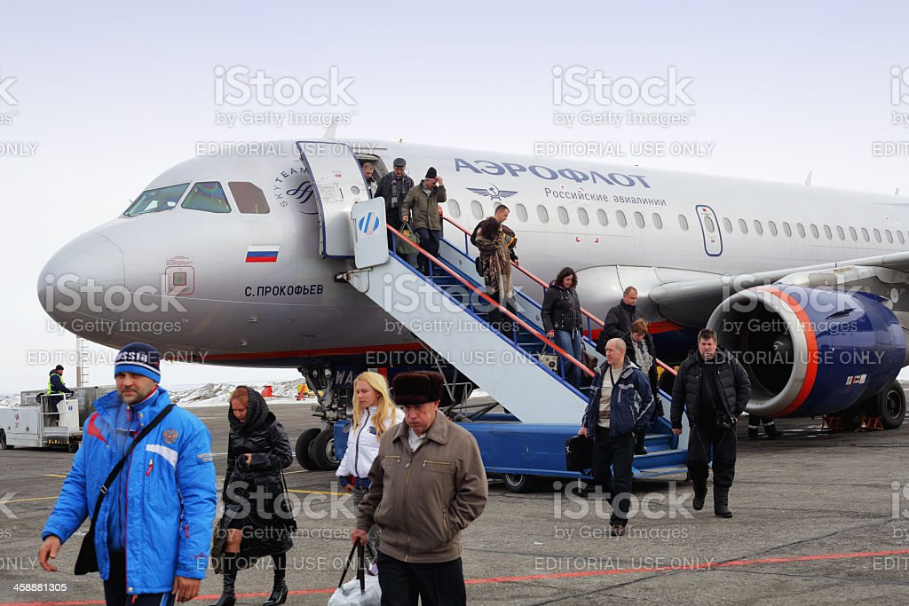 Aeroflot Airbus A319 Unloading Passengers stock photo