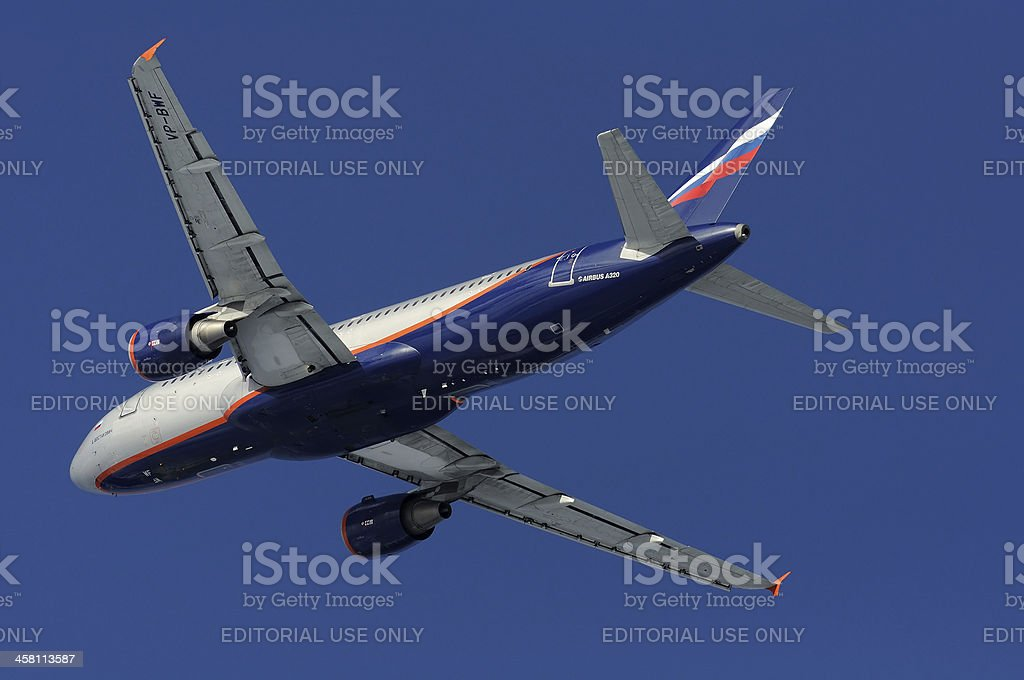 Aeroflot Airbus A320 departing from the Moscow royalty-free stock photo