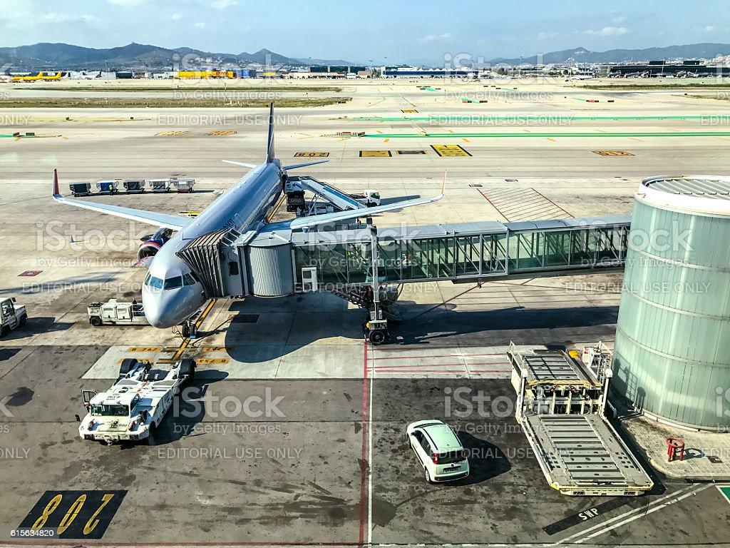 Aeroflot Airplane being prepared for flight, Barcelona stock photo