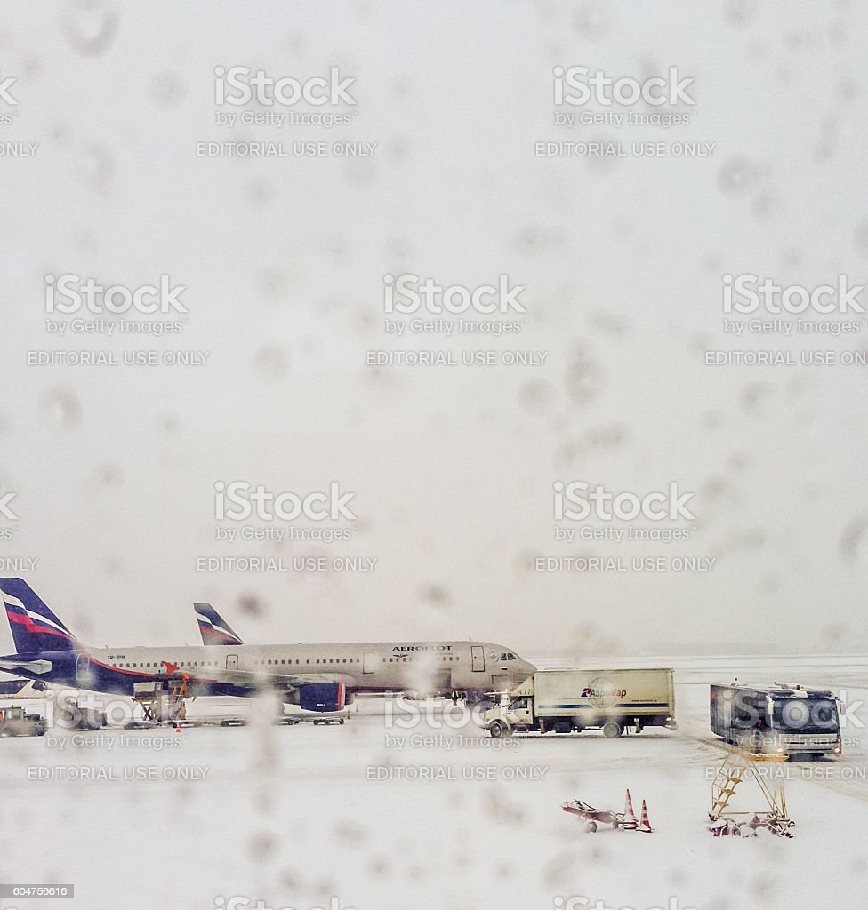 Aeroflot airplane seen through the airport window, Moscow, Russi stock photo